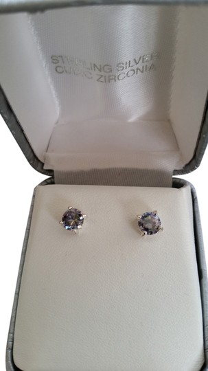 unknown Sterling Silver and blue ice cubic zirconia earrings
