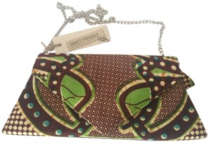 Babatunde African Tribal Bold Brown and Green Clutch