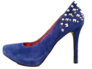 Marc Fisher Studded Suede Stiletto Cobalt Blue Pumps