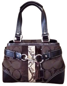 Coach Signature Tote Snakeskin Satchel in Brown
