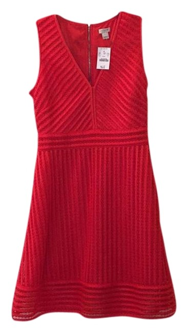 Item - Bright Red Striped Eyelet Short Cocktail Dress Size 4 (S)