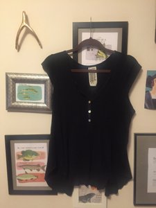 Free People Open Back T Shirt Black