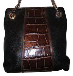 Brighton Leather Croc Embossed Tote in black & brown