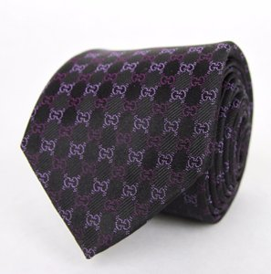 Gucci New Gucci Men's Black Purple Silk Wove Mircoguccissima Gg Neck Tie 351832 1071