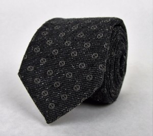 Gucci New Gucci Men's Charcoal Silk Wool Neck Tie With Interlocking G Print 351799 1162