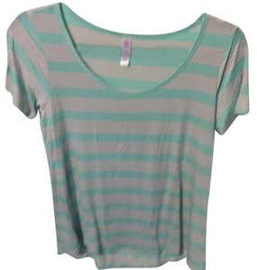 LuLaRoe T Shirt Teal with pink stripes