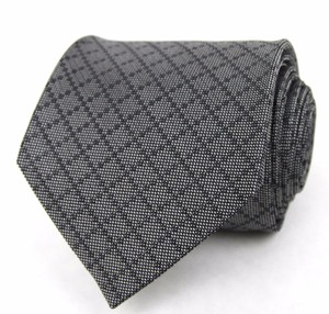 Gucci New Gucci Men's Gray Woven Diamante Silk Neck Tie 345265 1100