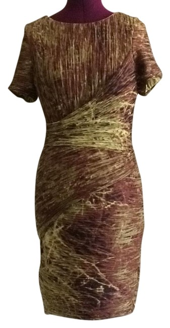 Item - Burgundy Brown and Gold Ruched Micro Pleated Short Cocktail Dress Size 6 (S)
