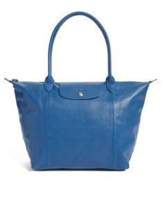 Longchamp Lambskin Leather Lambskin Tote in blue