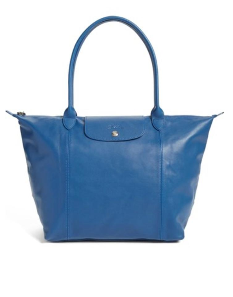 Longchamp Le Pliage Cuir Large Made In France Dustbag Blue Lambskin Leather  Tote d37d16b8c4