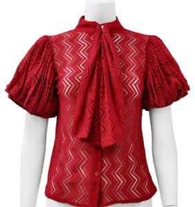 Gracia Chevron Necktie Top Red