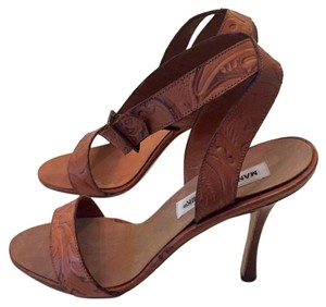 Manolo Blahnik Embossed Ankle Strap Stiletto Womens Brown Sandals