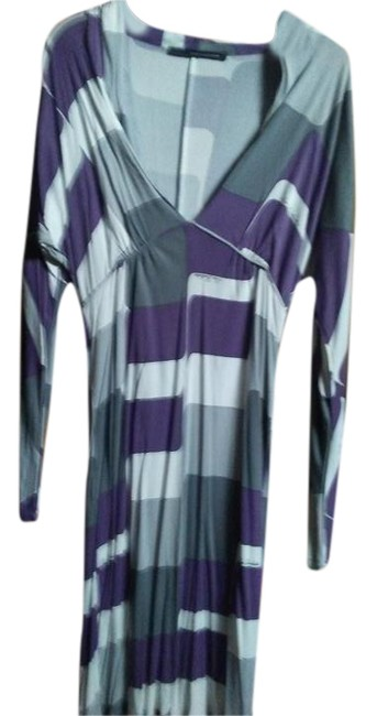 Item - White Purple Print Knee Length Night Out Dress Size 6 (S)