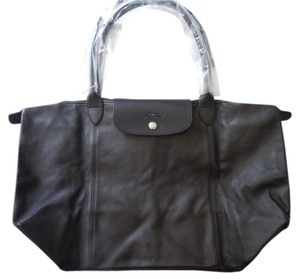 Longchamp Lambskin Leather Tote in black