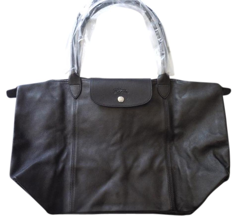 db6405c780e4 Longchamp Nwot Le Pliage Cuir Large Made In France Dustbag Black Lambskin Leather  Tote