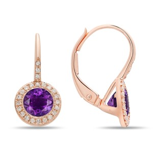 DIANA M. JEWELS Rose gold Purple Amethyst and Diamond Earrings