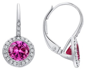 DIANA M. JEWELS PINK TOPAZ AND DIAMOND EARRINGS