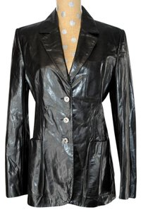 Trussardi Lambskin Leather Black Blazer