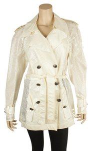 Chanel Cotton Blend Trench Coat White Jacket