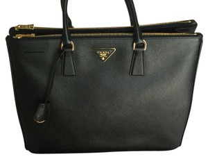 Prada Satchel in Black With Gold Hardware
