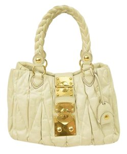 Miu Miu Prada Ruched White Shoulder Bag