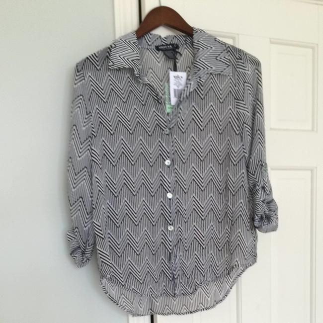 About A Girl Button Down Shirt Black And White