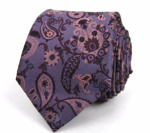 Gucci Men's Dark Purple Floral Silk Neck Tie Paisley Print 336444 5373