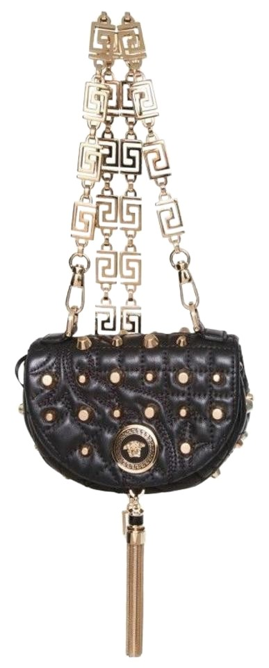 c98bfb96 Versace New Baroque Studded Nappa Crossbody Shoulder Black Lamb Leather  Clutch