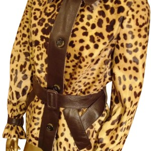Dolce&Gabbana Dolce And Gabbana Leather Cheetah Leopard Runway Brown Leather Jacket