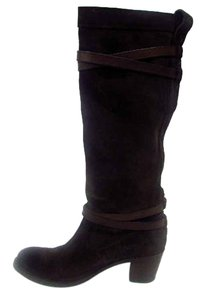 Frye Strappy Knee High Suede Brown Boots