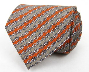 Gucci Men's Gray Orange Woven Silk Neck Tie G Logo 368245 7679