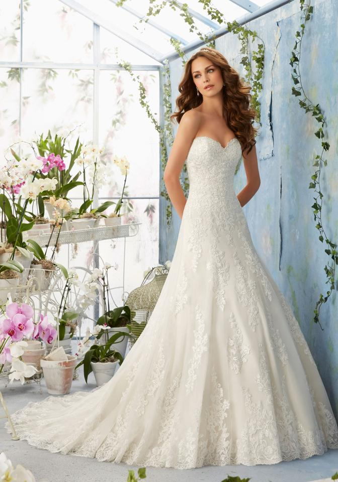 Mori Lee Ivory Lace Over Cocoa Lining Netting 5404 Traditional Wedding Dress Size 8 M