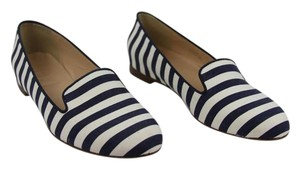 J.Crew Loafer Stripes Navy and Ivory Flats