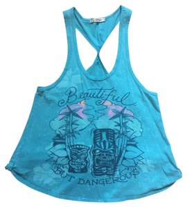 Ed Hardy Gym Twisted Tiki Racer-back Top Blue