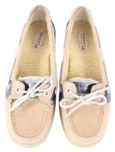 Sperry Nude Leather Fur Plaid Boat Flats