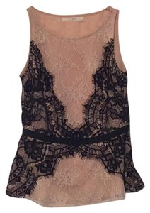 Ann Taylor LOFT Top Black and Tan lace