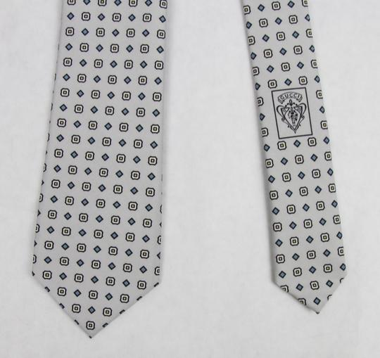 Gucci Multi-color Men's Off-white Gray Print Habutai Silk 368200 9562 Tie/Bowtie Image 3