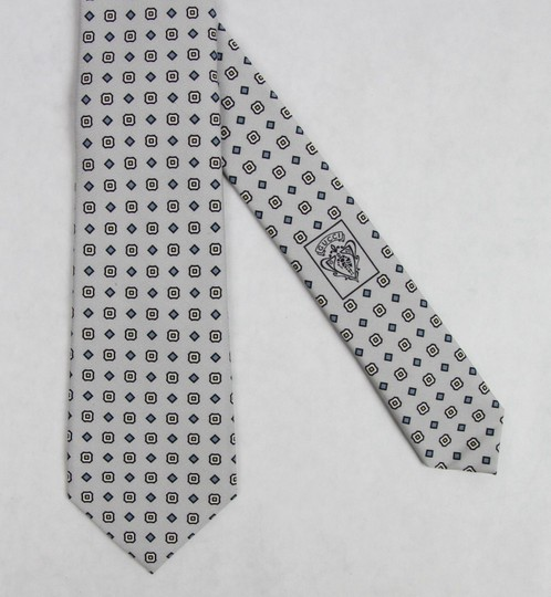 Gucci Multi-color Men's Off-white Gray Print Habutai Silk 368200 9562 Tie/Bowtie Image 5
