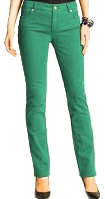 Item - Green Dark Rinse So Slimming Straight Leg Jeans Size 34 (12, L)
