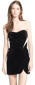 Jill Stuart Velvet Black White Cocktail Strapless Dress