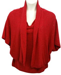 St. John Cashmere Red Twinset Cardigan