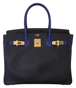 Hermès Satchel in Black/Blue Electrique