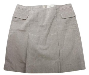 Ann Taylor LOFT Dart White Striped Skirt Gray