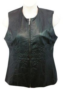 Pamela McCoy Black Leather Vest Top