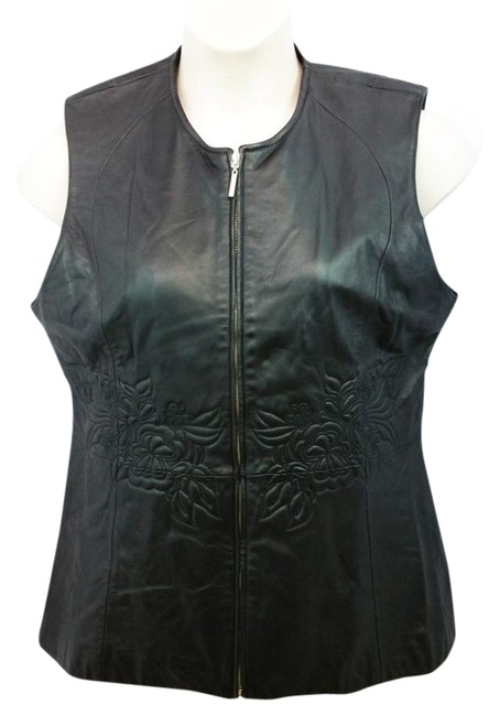 Preload https://img-static.tradesy.com/item/19514105/pamela-mccoy-sleeveless-black-leather-vest-l-blouse-size-12-l-0-1-650-650.jpg