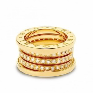 BVLGARI Bulgari 18K Yellow Gold B Zero1 Four Band Pave Diamond Ring EU 52