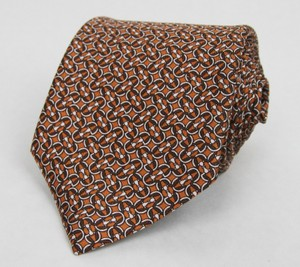 Gucci Brown Orange Horsebit Men's Silk with Print 336429 7664 Tie/Bowtie