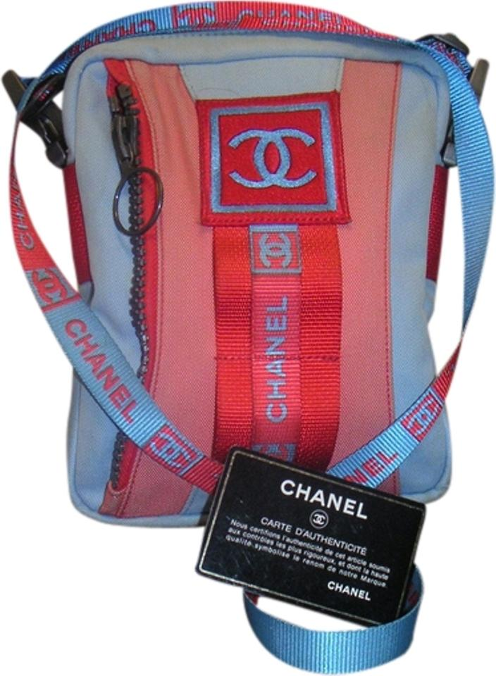8fa1f1dd53257f Chanel Sport Line Canvas Shoulder Blue Orange and Red Nylon Cross ...