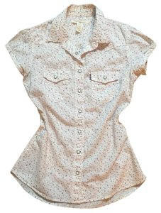 Levi's Country Blouse Floral Button Down Shirt Cream / Off White