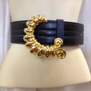 Escada Escada Vintage wide Leather Brass Buckle Belt Sz EU 38 US XS/S